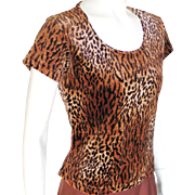 Vintage 1980s Cozy Soft Plush Velour Tiger Animal Print Scoop Neck Knit Top S M