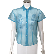 Vintage Sheer Turquoise Blue Suit Blouse with Floral Embroidered Trim L