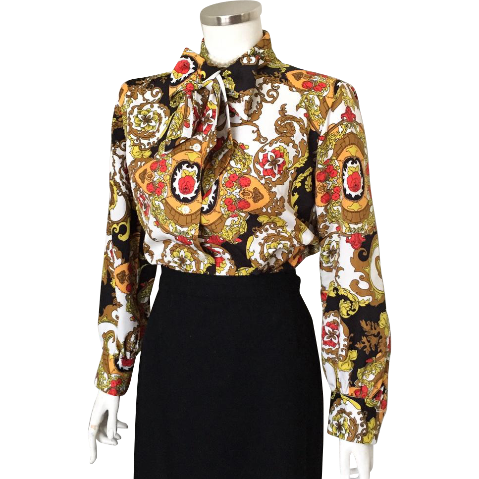 Vintage Late 1970s Early 80s Black White Red Gold Paisley Print Designer Inspired Pussy Bow Blouse L  Volup