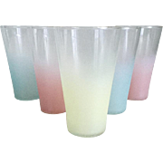 Vintage 1960s MCM Pastel Frosted Barware Bar Ware Beverage Glasses