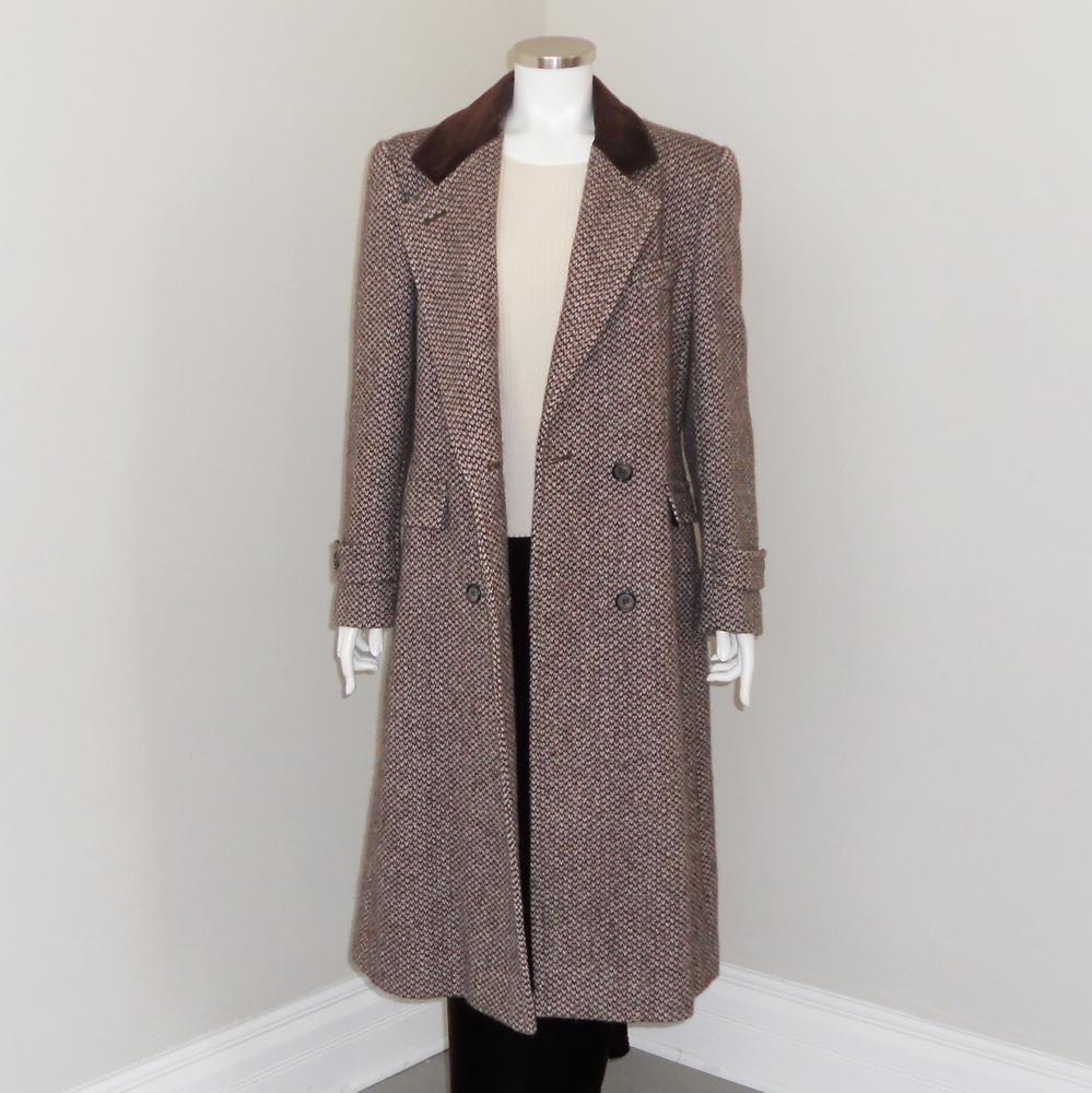 Vintage 1980s Brown Cream Thick Tweed Winter Wool ...