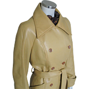 Authentic Vintage 1970s Tuscan Harvest Gold Vegan Pleather Double Breasted Trench Coat M