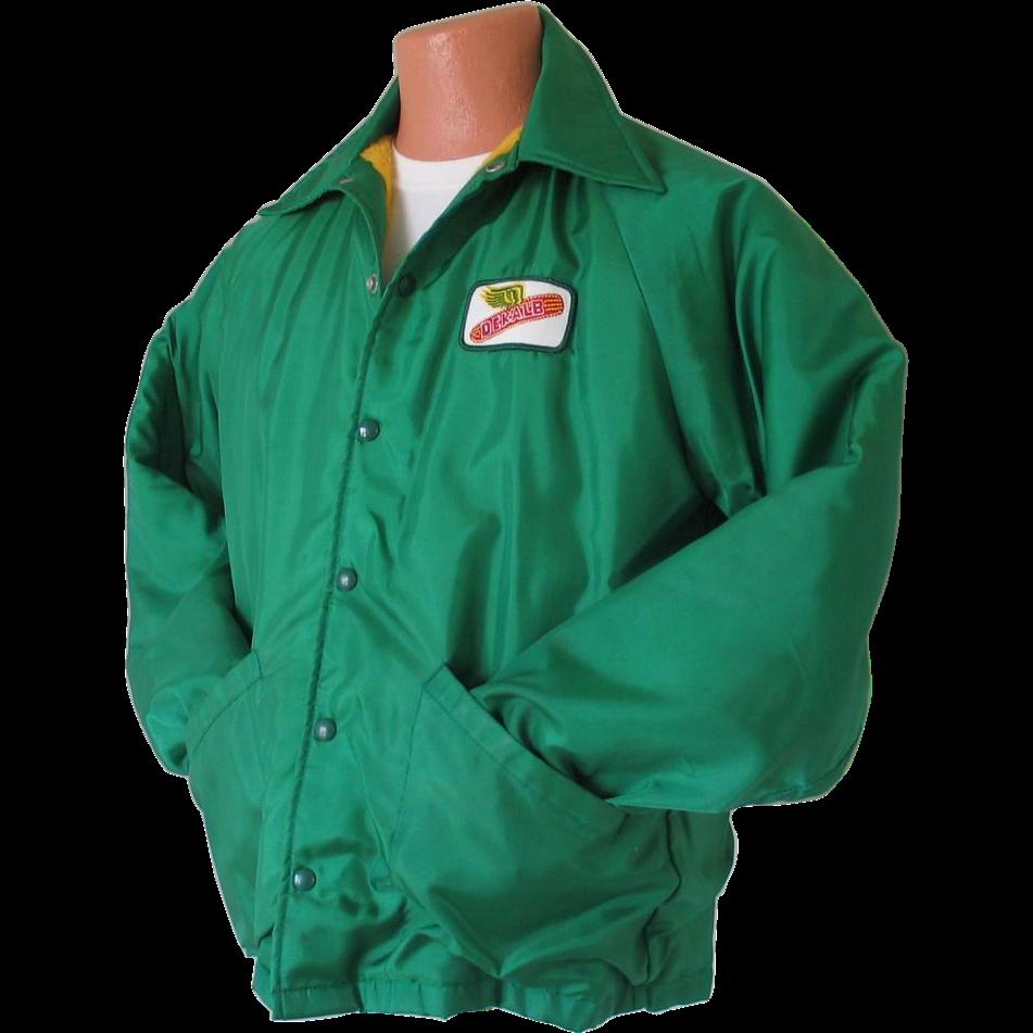 Vintage 1970s Dekalb Seed Corn Jacket with Warm Fuzzy Plush Lining M