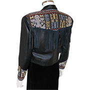 Vintage 1990 Black Fringe Leather Jacket with Authentic Balinese Ikat Trim M