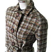 Vintage 1940s Woodland Autumn Brown Plaid Tweed Jacket Petite S M