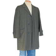 Vintage 1960s Green Black Glen Plaid Overcoat Rain Coat Car Coat
