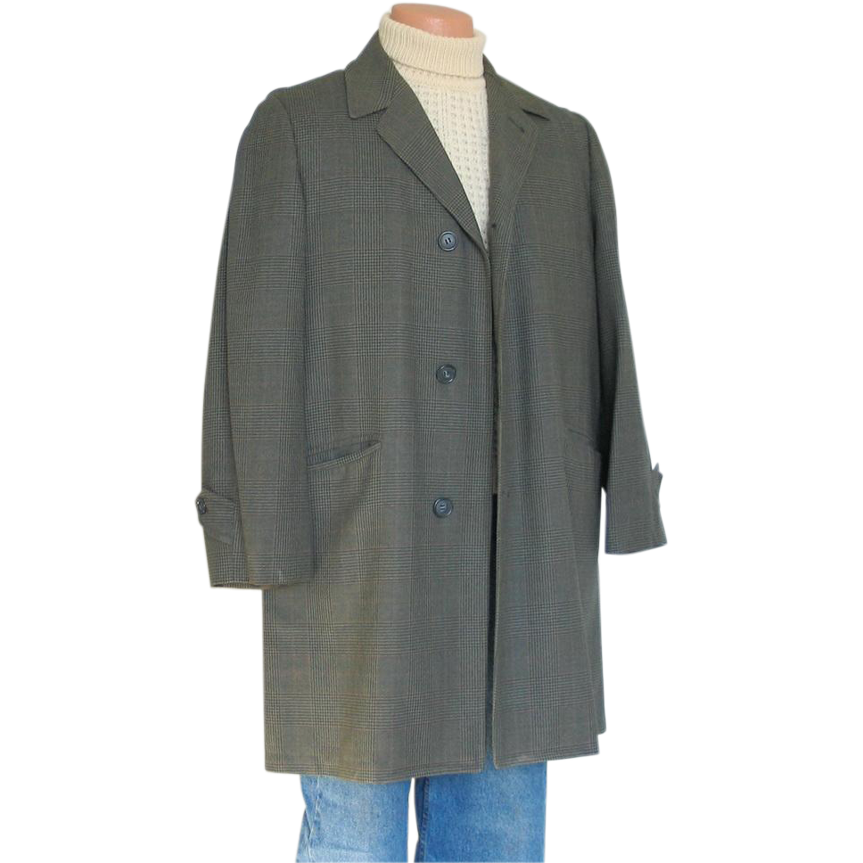 Vintage 1960s Green Black Glen Plaid Overcoat Rain Coat Car Coat ...