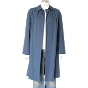 Vintage 1960s Womenswear Serge Navy Blue Rain Coat Raincoat Wamsutta  M
