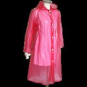 Vintage 1970s Red Transparent Plastic Hooded Raincoat M L