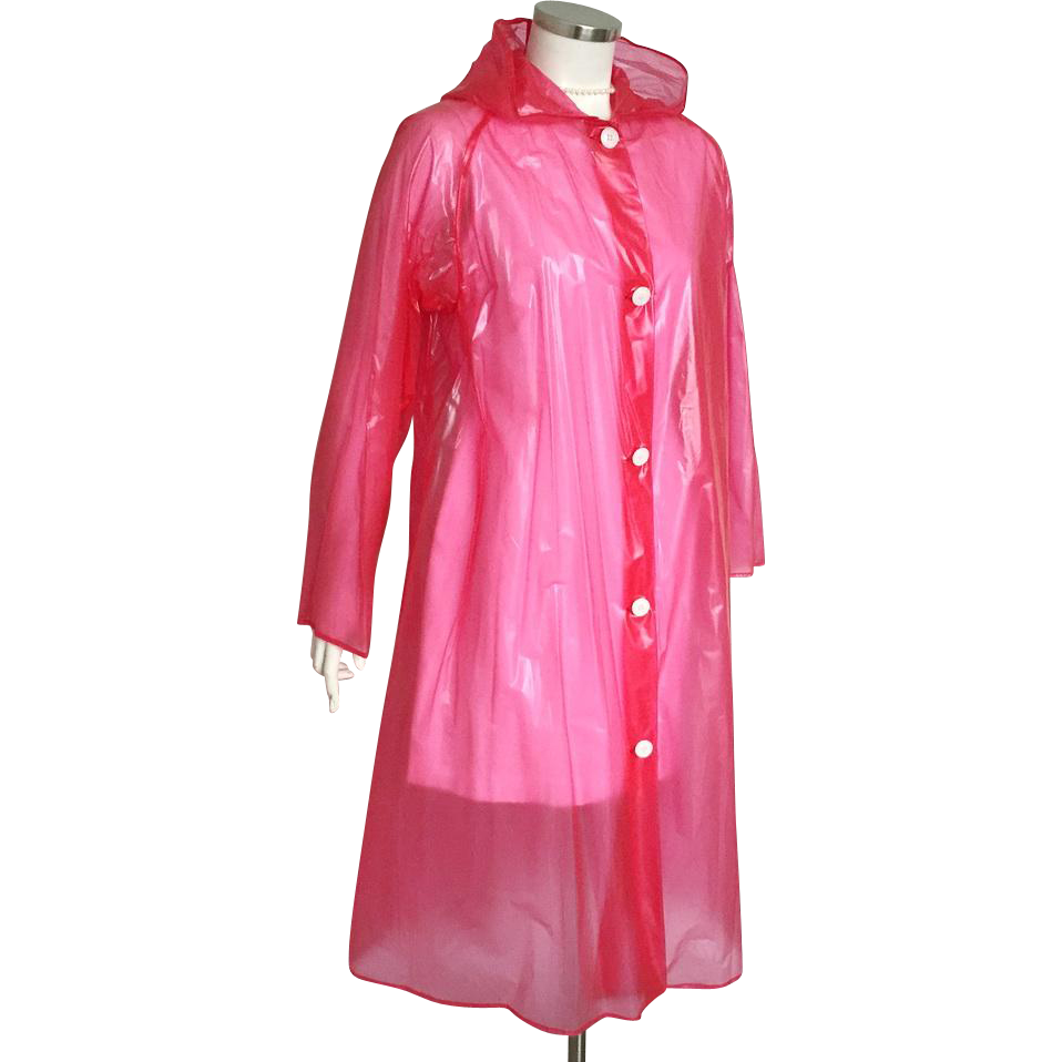 vintage 1970s red transparent plastic hooded raincoat m l from vintagemerchant on ruby lane. Black Bedroom Furniture Sets. Home Design Ideas