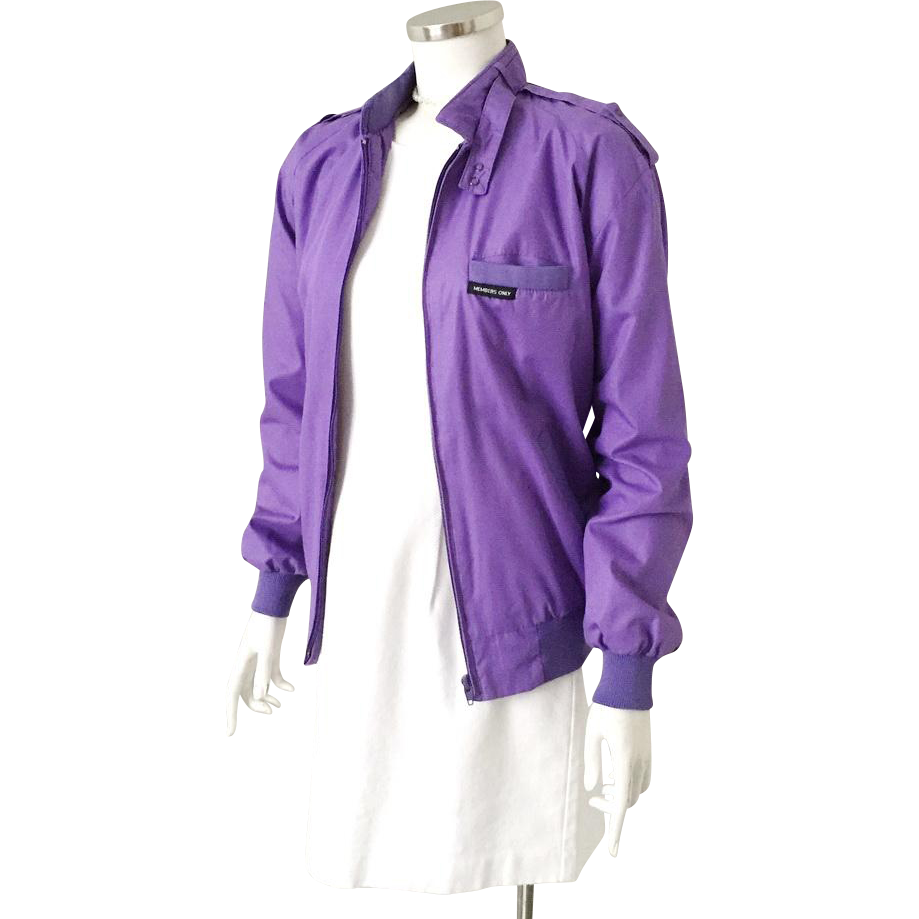 Vintage 1980s Purple Members Only by Fabil Jacket Windbreaker  L