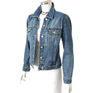 Vintage Late 80s Early 1990s  Old Navy Blue Jeans Denim Jacket S