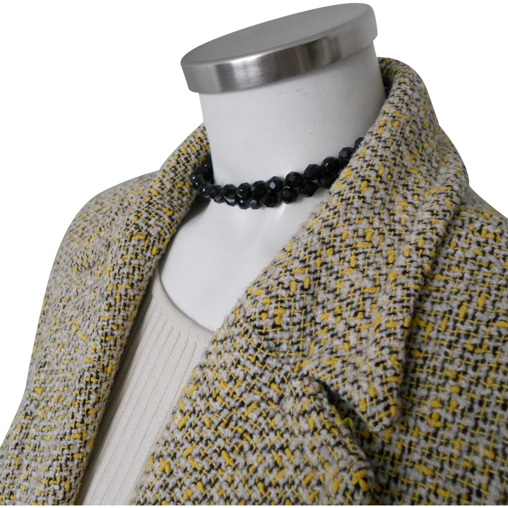 Authentic Vintage 1950s Yellow Cream and Black Knubby Boucle Swing Jacket L XL