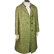Authentic Vintage 1960s Cozy Thick Textured Tweed Coat Green Espresso Brown M L