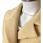 Vintage 1960s Modern Sculpted Bettijean Straw Yellow Boucle Slubbed Coat M