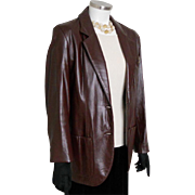 Vintage 1980s Etienne Aigner EA Dark Wine Leather Jacket Coat Blazer M