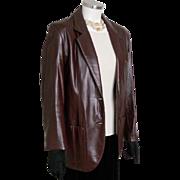 Vintage 1980s Etienne Aigner EA Dark Wine Leather Jacket Coat Blazer M