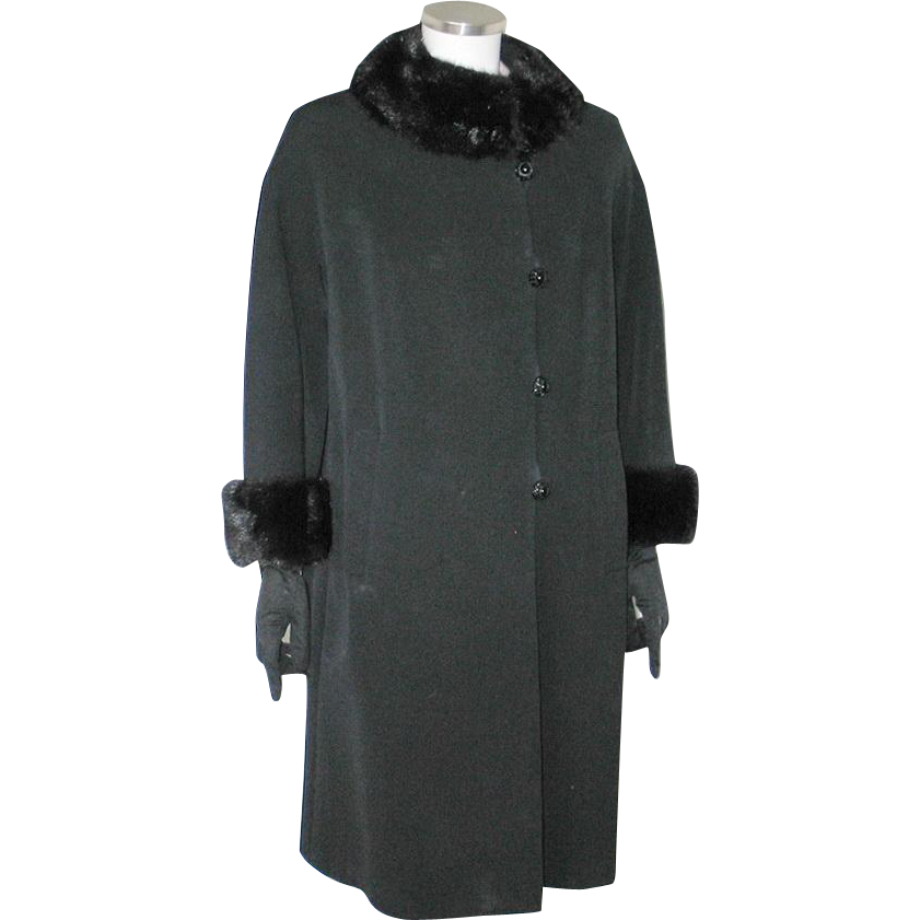 Vintage 1960s American Design Frank Gallant Black Wool Coat with Fur Trim M L