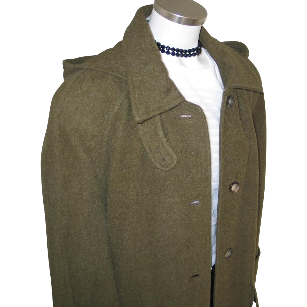 Vintage 1980s Moss Green Cozy Heavy Winter Wool and Llama Designer Coat from Russia L XL