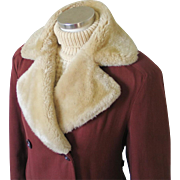 Vintage 1940s Minnesota Russet Brown Double Breasted Gabardine Winter Storm Coat with Cozy Mouton Fur Collar M