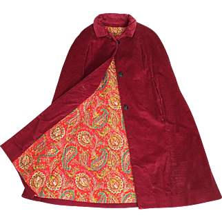 Vintage 1960s Dark Cranberry Red Corduroy Cape with Brilliant Quilted Paisley Lining