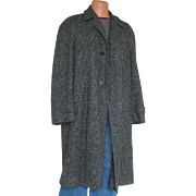 Vintage 1950s Black and Gray Tweed Wool Winter Overcoat Coat Menswear L XL