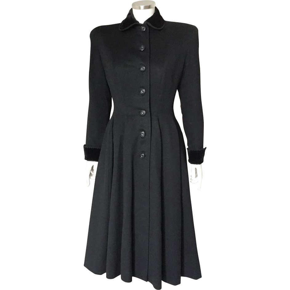 Vintage Late 1940s Early 1950s New Look Fit and Flare 12 Gore Black Wool Winter Princess Coat S