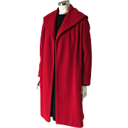 Vintage 1950s Red Wool Swing Clutch Coat with Enormous Collar  L XL Volup