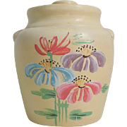 Vintage 1930s Ceramic Handpainted Cookie Jar with Flowers
