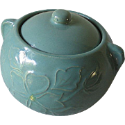 Vintage Aqua Teal Stoneware Pottery Ceramic Cookie Jar Bean Pot with Lid 2.5 Qt