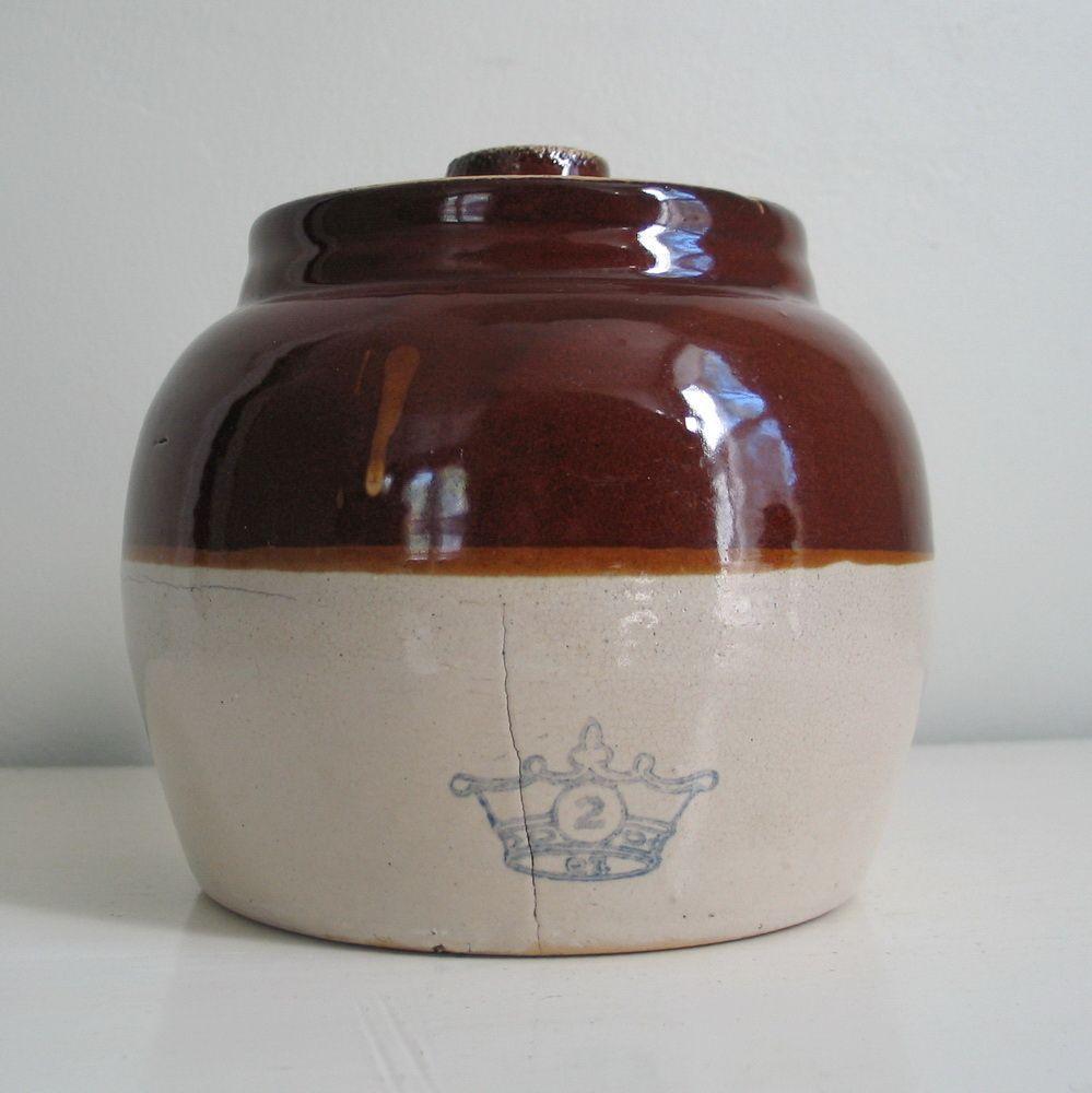 Vintage Rustic Brown N Tan Ransbottom Stoneware Ceramic