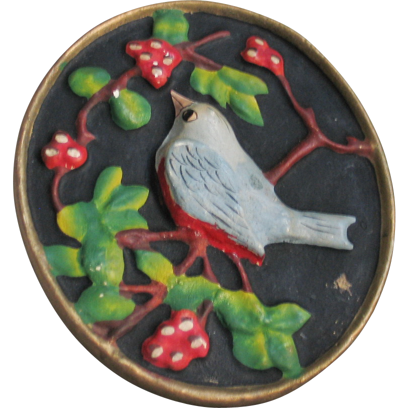 Vintage 1940s Handpainted Chalkware Blue Bird on a Branch Wall Plaque