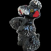 Vintage 1950s Handpainted Ceramic Black Poodle Figurine