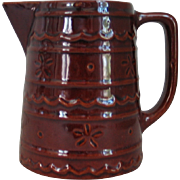 Vintage 1950s 1960s Mar-Crest Daisy Dot Colorado Brown Stoneware Pitcher M