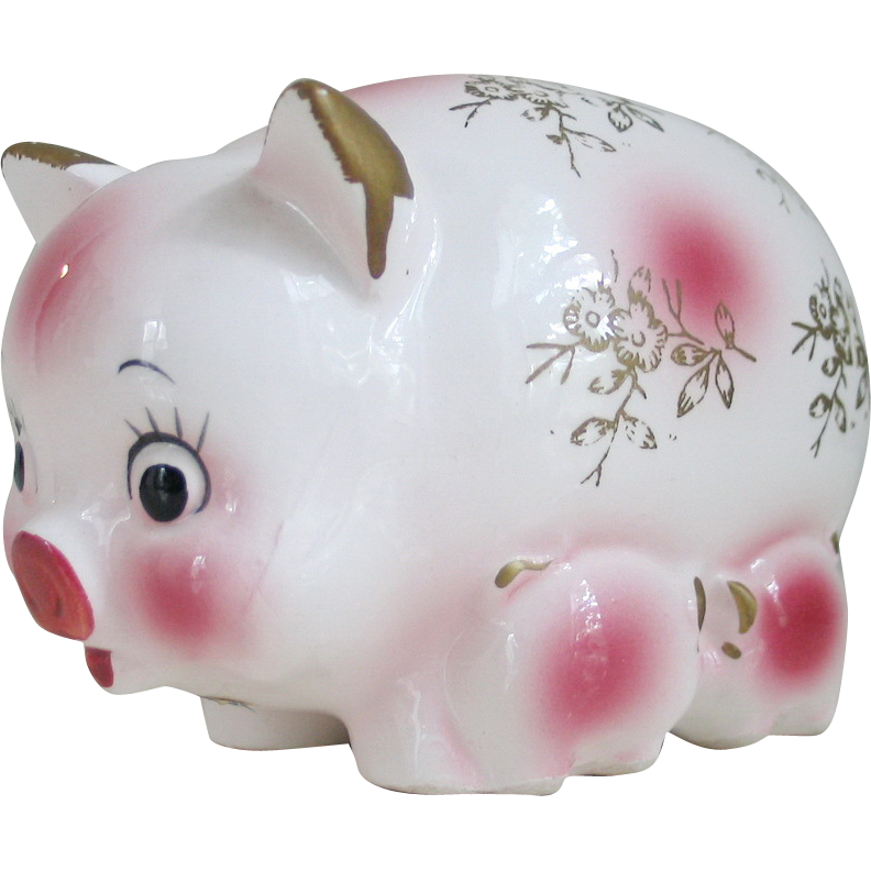 Vintage White And Pink Ceramic Piggy Bank Mama With 2 Baby