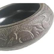 Vintage Footed Bowl with Herons Bird Design Japan