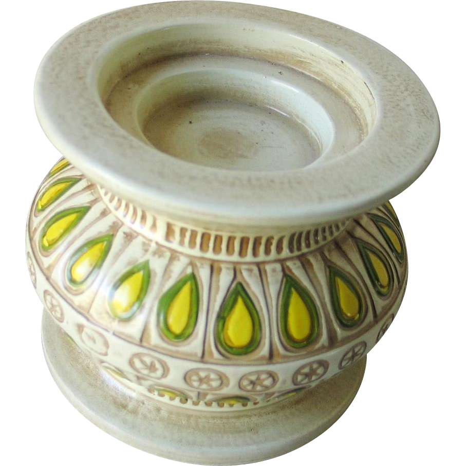 Vintage 1960s Paisley Pattern Candle Holder Candleholder Yellow Cream Green