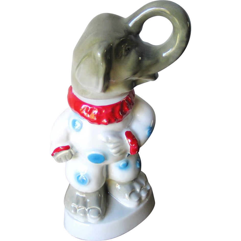 Vintage 1968 Election Year Jim Beam GOP Clown Republican Elephant Bottle Decanter