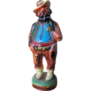 Vintage 1950s 1960s Chalkware Plaster Colorful Cowboy Figurine