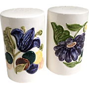 Vintage 1966 Salt and Pepper Shakers White Cylindrical with Indigo Flowers