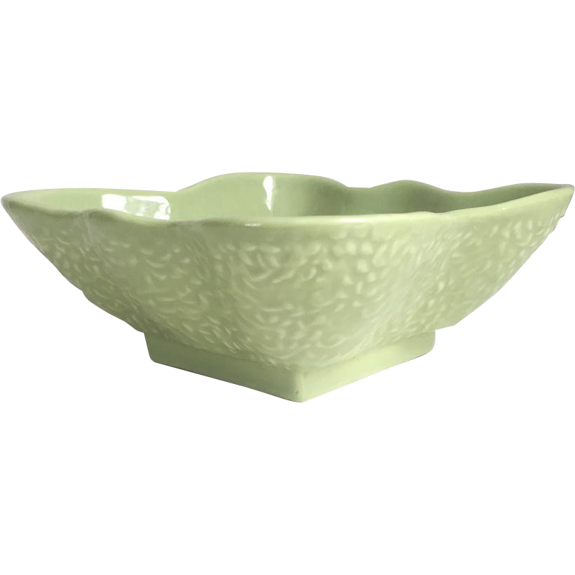 Vintage 1940s Green Square Ceramic Serving Bowl with Wavy Scalloped Rim