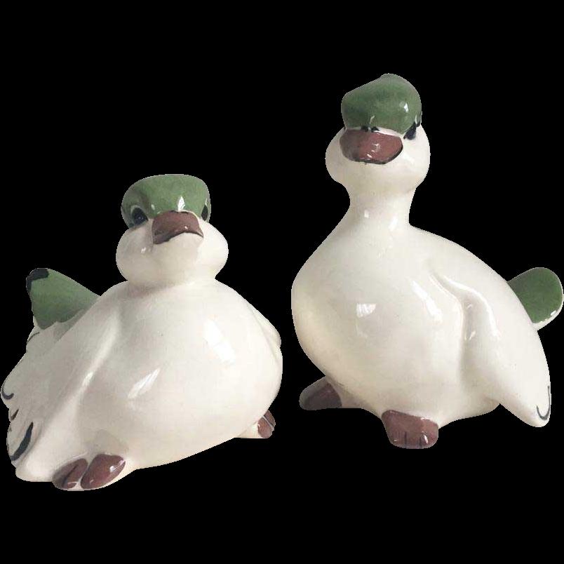 Vintage 1960s Ceramic Pottery Pair of White Birds Figurines