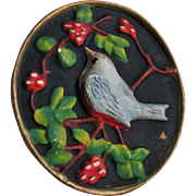 Vintage 1940s Blue Bird on Black Chalkware Chalk Ware Wall Hanging
