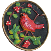 Vintage 1940s Red Bird on Black Chalkware Chalk Ware Wall Hanging