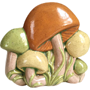 Vintage 1970s Ceramic Mushroom Napkin Holder Orange Green Yellow Decor