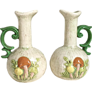 Vintage 1970s Ceramic Oil and Vinegar Oil Vinegar Cruet Set with Mushroom Design