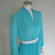 Vintage 1970s Turquoise Aqua Dress with Mini Pleated Skirt  M