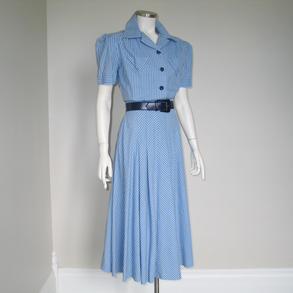 Vintage Blue and White Striped Shirtwaist Dress with Flared Bias Skirt M