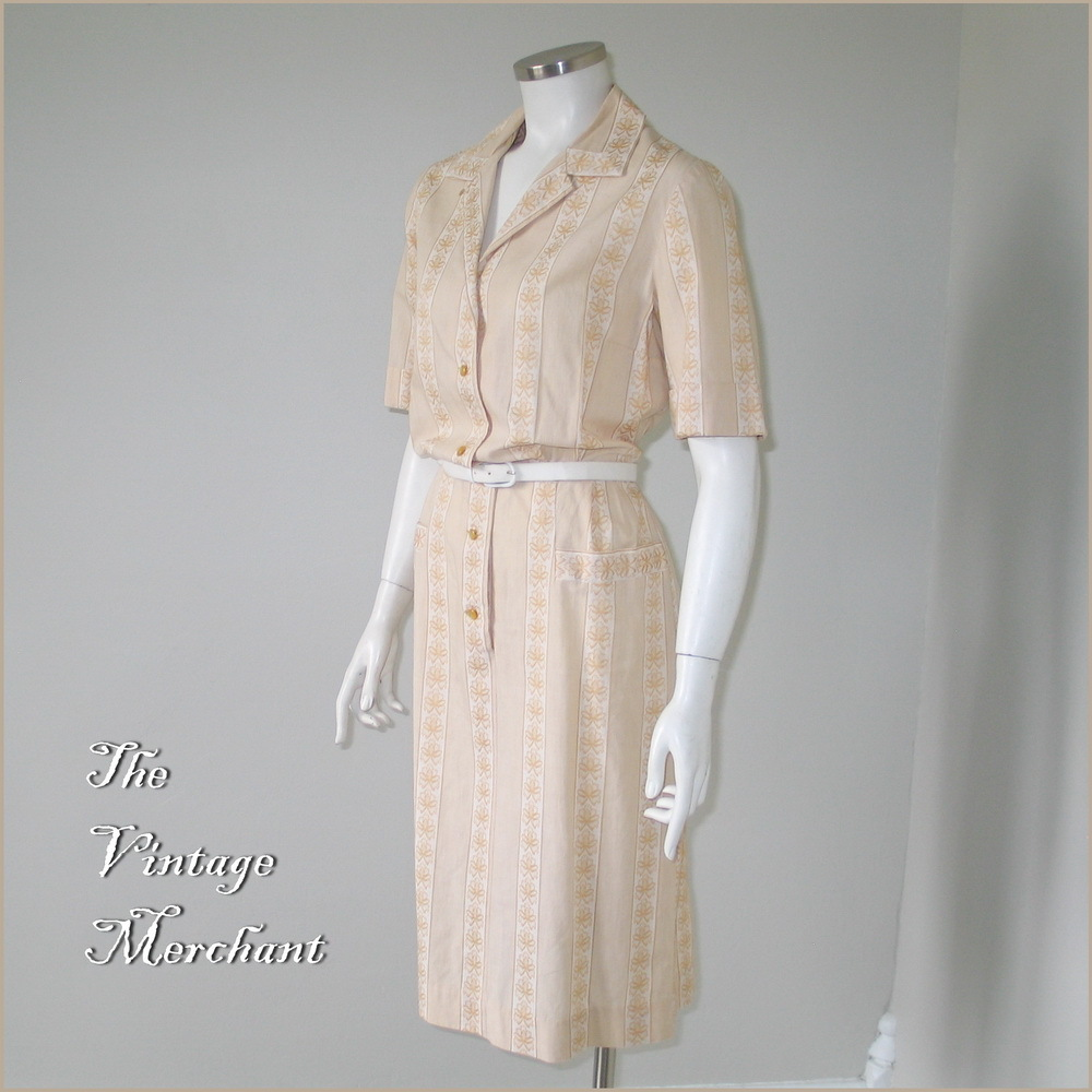 Vintage 1960s Novelty Jacquard Weave Day Dress Nelly Don M