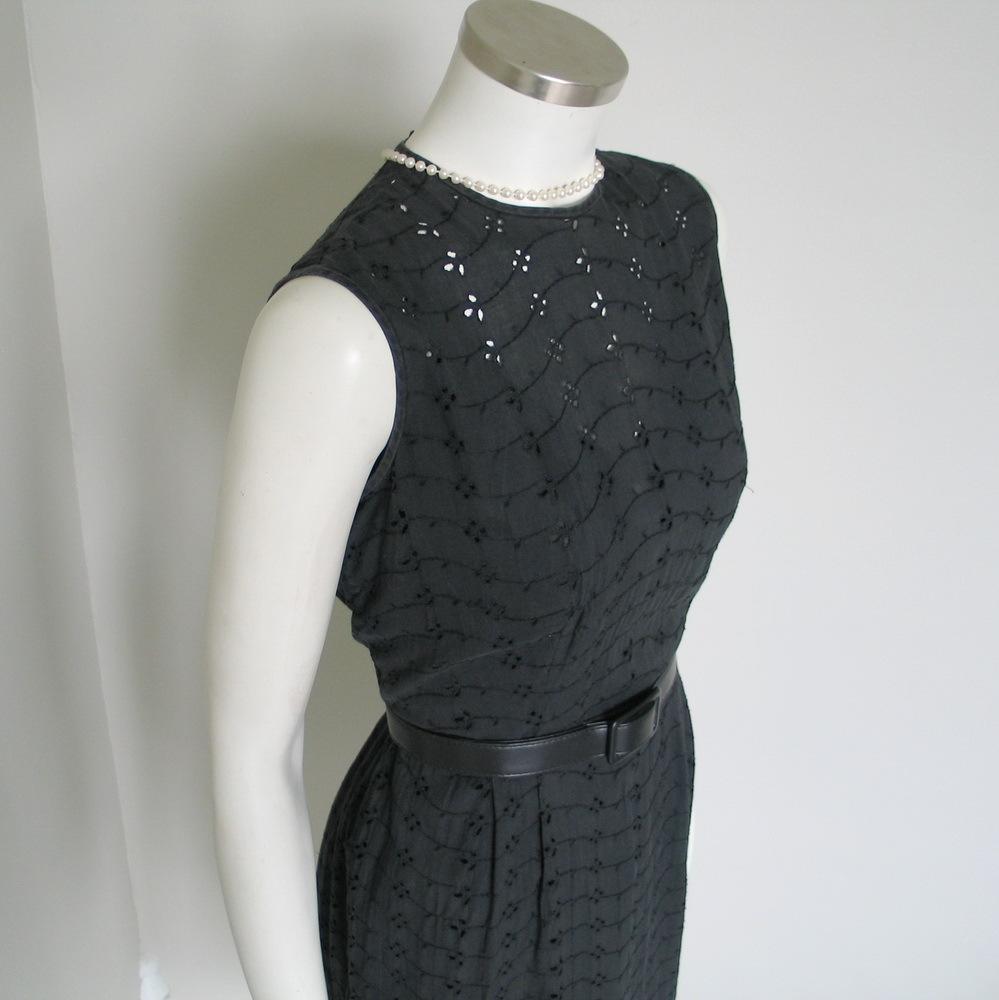 Vintage 1960s Black Eyelet Summer Sheath Dress M